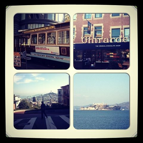 cable car, Ghiradelli Square, looking down Lombard St and Alcatraz in the distance