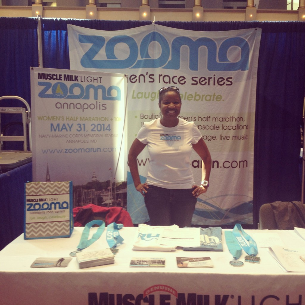 working the zooma booth at the cherry blossom expo