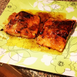 Sweet and Spicy Peach Glazed Salmon