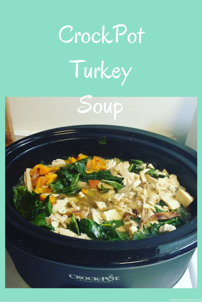 CrockPot Turkey Soup with Collards & Sweet Potatoes